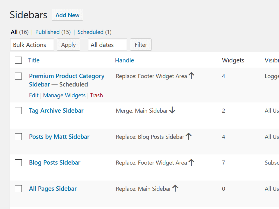 Screenshot of Sidebar Manager