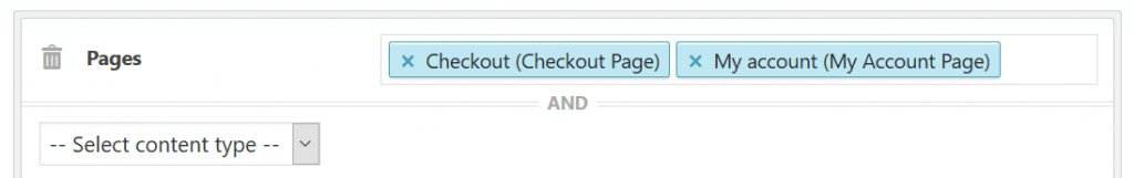 Screenshot of sidebar condition for pages