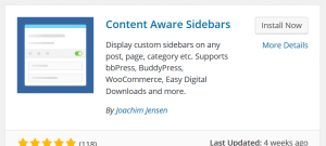 Screenshot of WordPress Sidebar Plugin installation