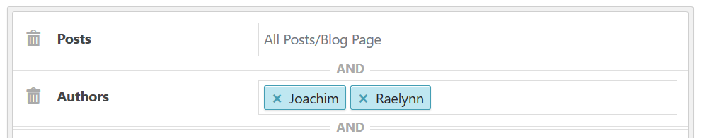Display sidebar on posts by authors