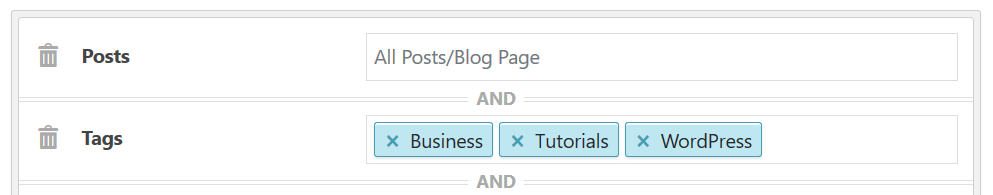 Display sidebar on posts with select tags