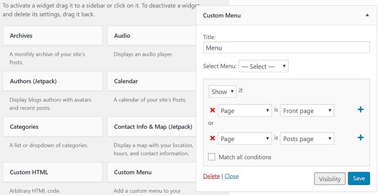 Jetpack offers simple WordPress widget visibility