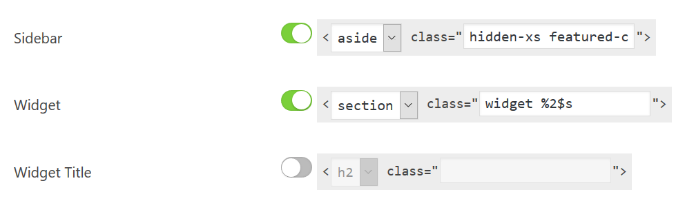 Custom Markup & CSS Styles Feature - Content Aware Sidebars